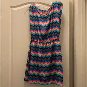 Multi-Colored Chevron Print Shortsleeved Dress